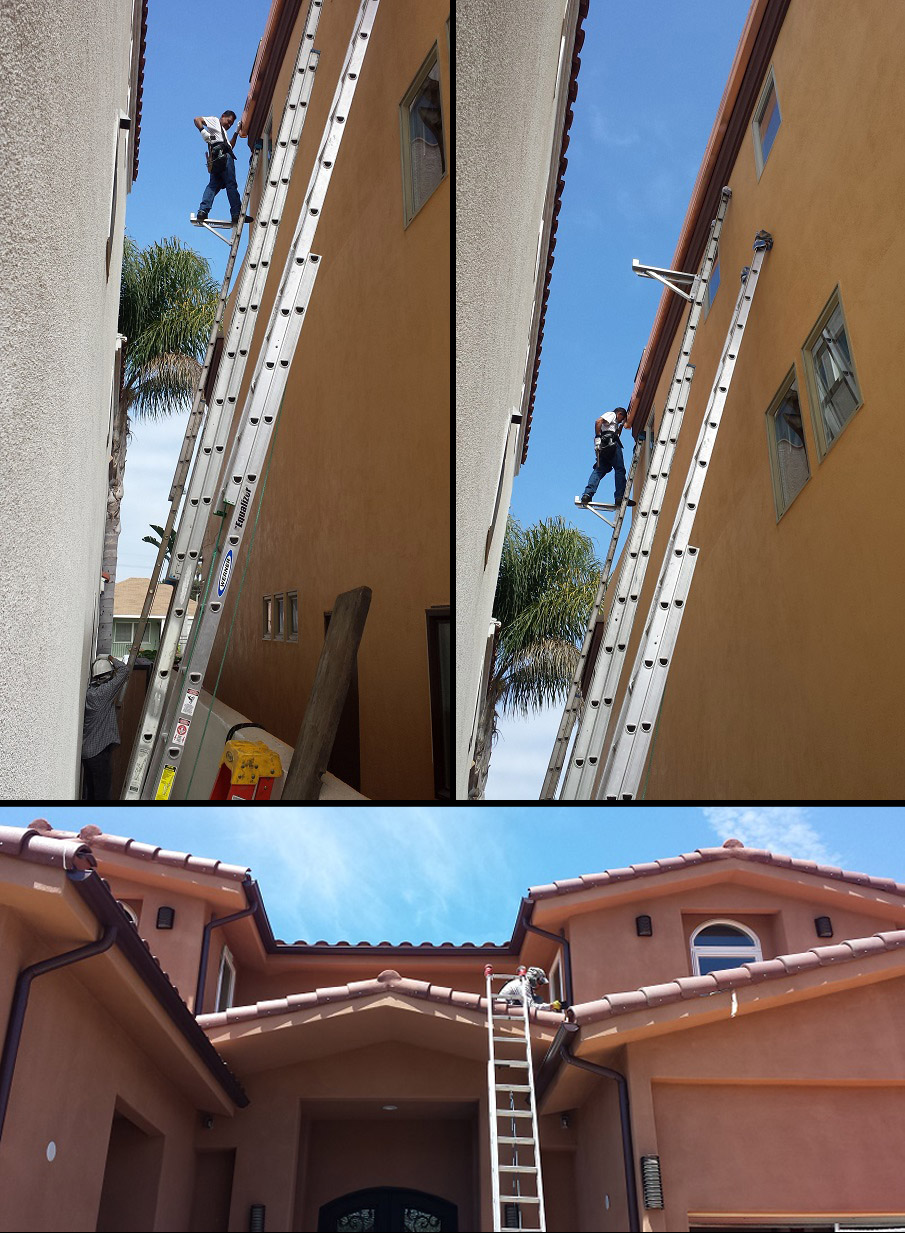 workers on ladders photo